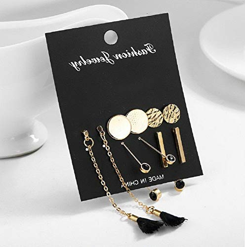 Mikash 6/9/24 Fashion Rhinestone Crystal Pearl Earrings Set Women Ear Stud Jewelry Gift | Model JWRLBX - 1432 | 5 Pairs/Set