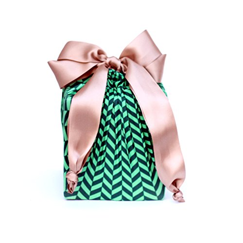Lilywrap Eco-friendly, Reusable Stretchy Fabric Gift Wrap, Green Herringbone Small/Medium Combo Pack , 2 (Free Jewelry Box Patterns)