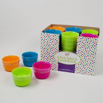 SALAD/CEREAL BOWL 4PK PLASTIC 4AST SUMMER COLORS 48PC PDQ, Case Pack of 48 from D&D