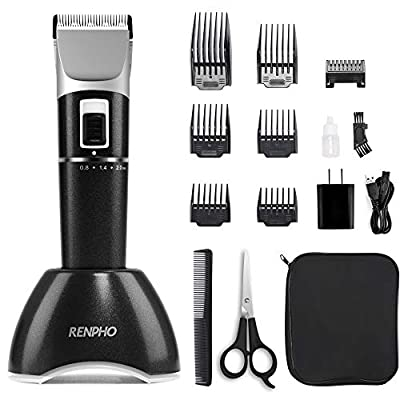 Cordless Hair Clippers for Men, Rechargeable Hair Trimmer for Kids, Beard Trimmer, RENPHO Home Hair Cutting Kit with Charging Base