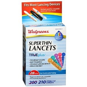 (Walgreens Comfort Assured Colored Super Thin 28 Gauge Sterile Tip Lancets 210 ea)