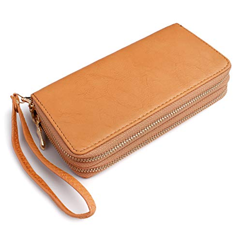 (Classic Zip Around Wallet - PU Leather Double Zipper Clutch Purse with Card & Phone Slots, Removable Wristlet Strap (Camel))