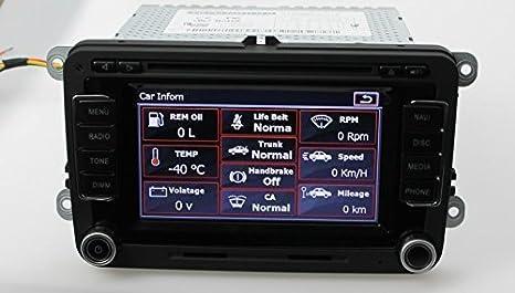 likecar 7 pulgadas 2 din radio de coche DVD CD Receptor GPS Navegación para VW Volkswagen Golf Tiguan Passat EOS RNS510, türstatus Alerta Ops ipas OBD: ...