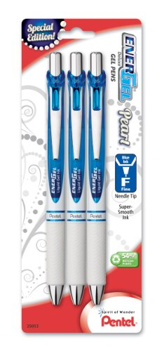 (Pentel EnerGel Pearl Deluxe RTX Liquid Gel Pen, 0.5mm, Fine Line, Needle Tip, Blue Accent, Blue Ink, 3 Pack (BLN75WBP3C))