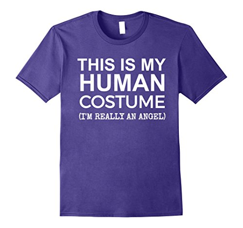 Angel Costume Divine (Mens This is My Human Costume, Really an Angel T-shirt Halloween Large)