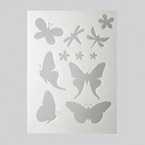 Pochoir plastique blanc, 7 papillons et 4 Fleurs, Format A5