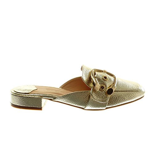 Gold Schnalle Pantoletten Genarbt Zurück Verschluss Glänzender Angkorly 5 Ohne cm Blockabsatz Offen Damenmode Pantoffeln 2 Oriental Schuhe qCawxU