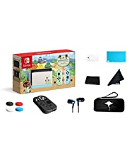 """Newest Nintendo Switch - Animal Crossing: New Horizons Edition 32GB Console - Pastel Green and Blue Joy-Con -6.2"""" Touchscreen LCD Display-GM 69 Value13-in-1 Supper Kit Case"""
