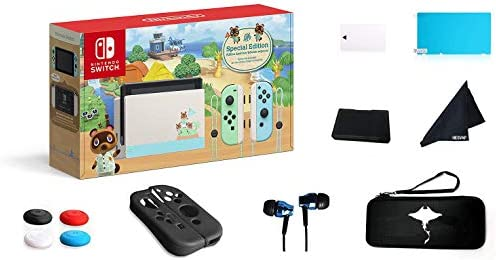 "Newest Nintendo Switch - Animal Crossing: New Horizons Edition 32GB Console - Pastel Green and Blue Joy-Con -6.2"" Touchscreen LCD Display-GM 69 Value13-in-1 Supper Kit Case"