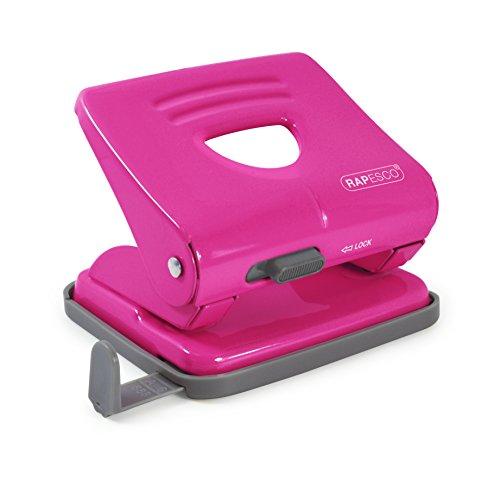 Rapesco 825 - Perforadora metalica de 2 agujeros, 25 hojas capacidad, color rosa intenso