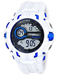 Armitron Sport Men's 40/8335WHT Blue Accented Digital Chronograph White Resin Strap Watch