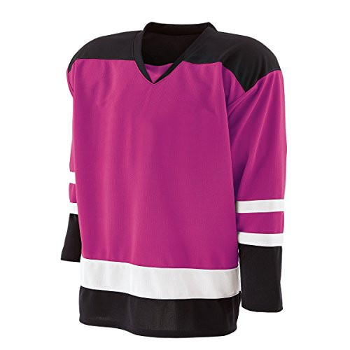 Pink Hockey Jersey - Holloway Adult Faceoff Hockey Jersey Mens-Power Pink/Black/White XXX-Large