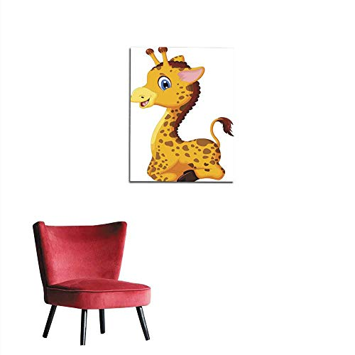 longbuyer Home Decor Wall Cute Baby Giraffe Cartoon Sitting for You Design Mural 20