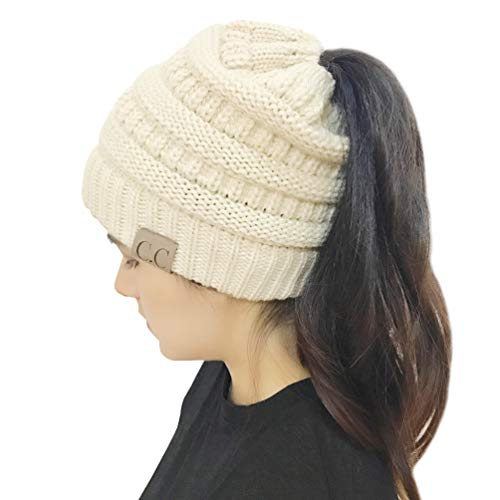 4503c14bc MissPretty Red Slouch Beanie Hats Women Winter Knit Cup Tail Ponytail Warm  Strech Cable Messy High Bun Knit Hat