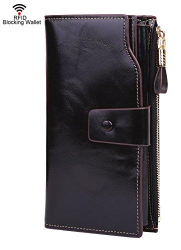 Dante Women RFID Blocking Wallet-Clutch Checkbook Wallet for Women-Shield Against Identity - Dante Black