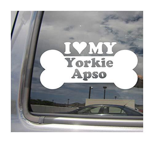 I Heart Love My Yorkie Apso - Dog Bone Yorkshire Terrier Lhasa Apso Yorkie-Apso Designer Mixed Hybrid Breed Cars Trucks Moped Auto Automotive Craft Laptop Vinyl Decal Store Window Wall Sticker 14053