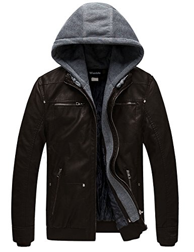 Wantdo Men's Hooded Faux Motorcycle Leather Jacket,Dark ()