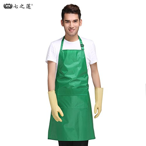 - YAJIAO Kitchen apron Waterproof pvc apron Waterproof and oil chef apron Pure color adjustable sleeveless apron-green 86x60cm(34x24inch)