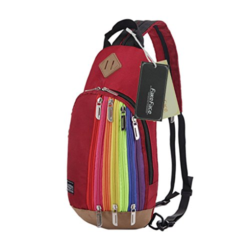 FakeFace Unisex Multipurpose Rainbow Zipper Casual Sport Travel Shoulder Cross Body Bag Sling Messenger Backpack Rucksack for Men Women Hiking Gym Chest Pack Pouch Bag - Excursion Cargo Messenger Bag