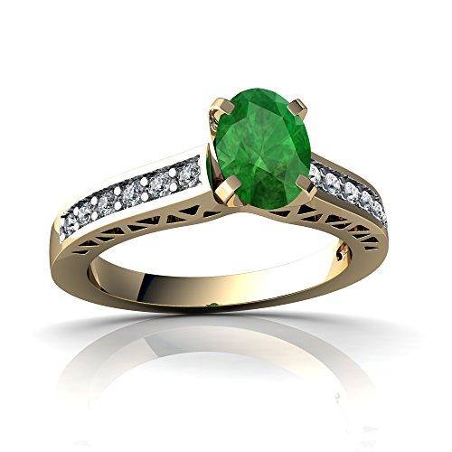 14kt Gold 9x7 Emerald - 9