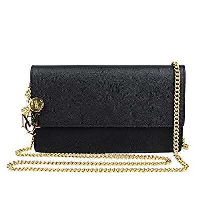 Alexander McQueen Skull Charm Black Leather Chain Pouch Bag 439181 1000