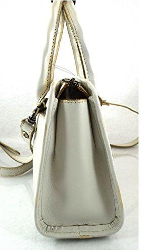 Patricia Nash Paris Tooled Metallic White//Gold top handle bag