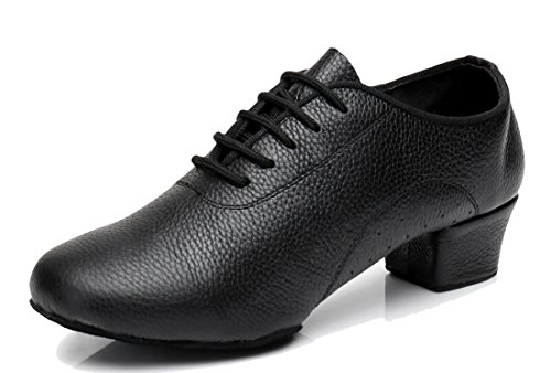 Black Samba Latin Modern Leather Shoes with Lace Ballroom up Dance Salsa Women's Holes Rumba Tango Classic TDA 4WPf68P
