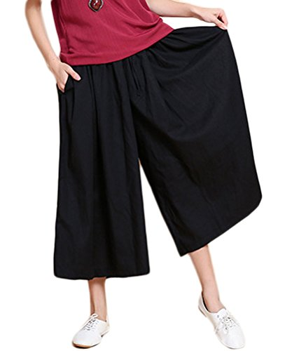 Soojun Women's Loose Fit Wide Leg Cotton Linen Cropped Palazzo Pants, #1 Black, One Size