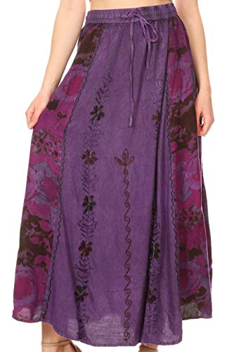 Sakkas 1827 - Maran Women's Boho Embroidery Skirt with Lace Elastic Waist and Pockets - Purple - ()