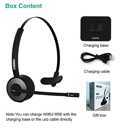 Trucker Bluetooth Headset,Willful Wireless Headset with Microphone,Charging Station,Noise Cancelling Clear Sound,Mute Button,Cell Phone Headset for Car Truck Driver Call Center Office iPhone Android by Willful (Image #6)