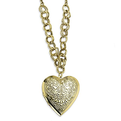 Brass-tone Heart Locket on 28 Necklace ()