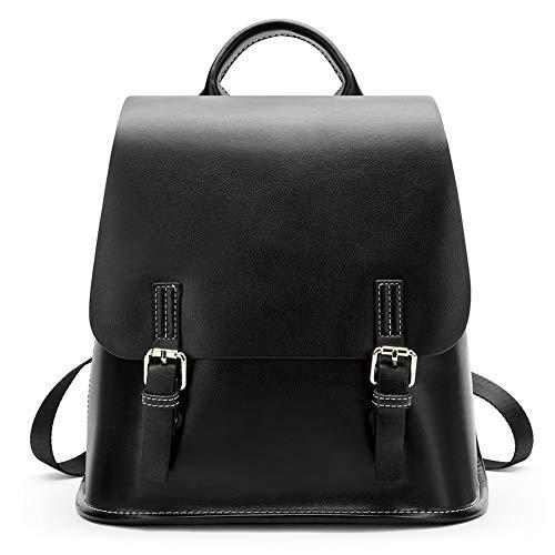 Sac à dos pour femme Wibis, sac en cuir de grande capacité Sauvage Voyage occasionnel coréen pour femme à double usage, Noir Noir