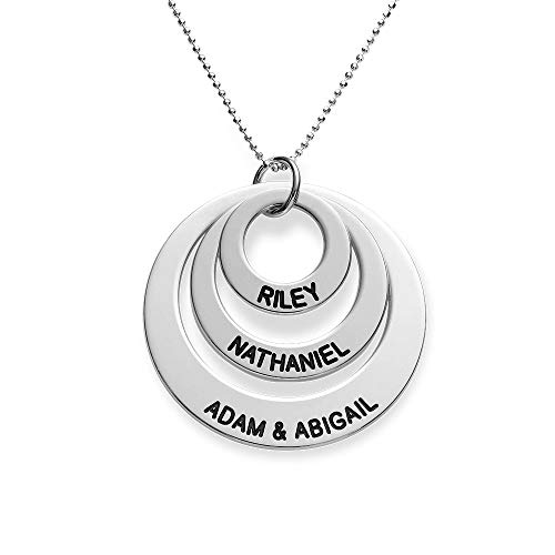 (Engraved 3 Discs Circle Names Necklace for Mom 10K White Gold -Custom Made Personalize with Kids Pendant (14.00, 10k White Gold))