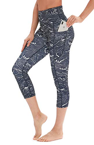 icyzone Yoga Pants for Women - High Waisted Workout Leggings with Pockets, Power Flex Athletic Capris Gym Exercise Tights (XL, Spindrift)