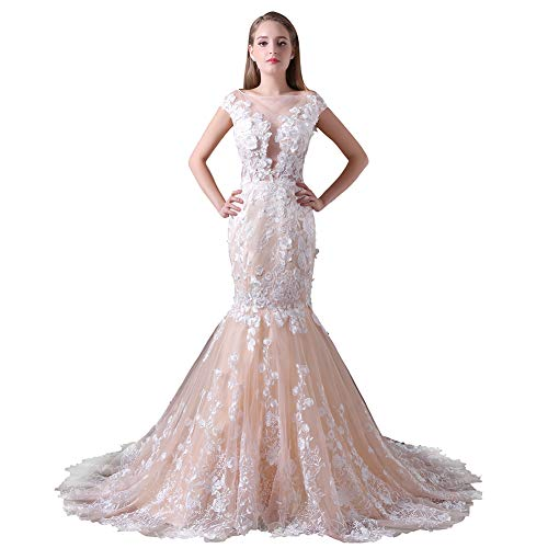 YUEZHIMENG Haute Couture Women's Wedding Lace Strapless Elegant Temperament Princess Wedding Dress Adult/Children Dress Evening Dress,US16W