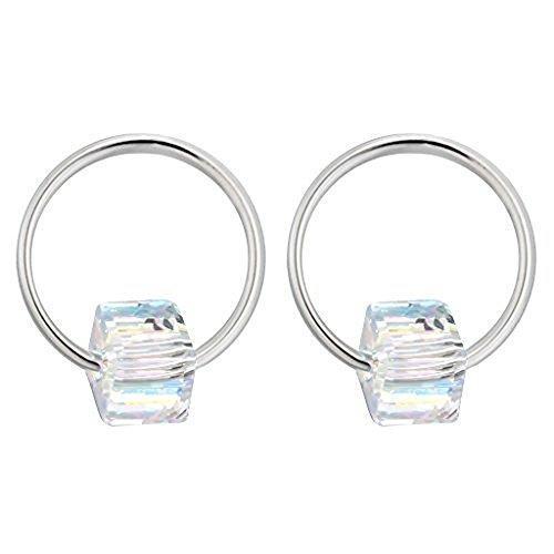 Iszie Bijoux dernier CRI Style vintage Boucles d'oreilles en forme de cercle avec cristal géométrique Boucles d'oreilles