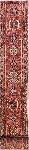 Gharajeh Persian Rugs - Rug Source 31 ft Extra Long Hand Knotted Gharajeh Heriz Karaje Vintage Persian Rug Runner for Hallway (31' 4'' X 2' 10'')