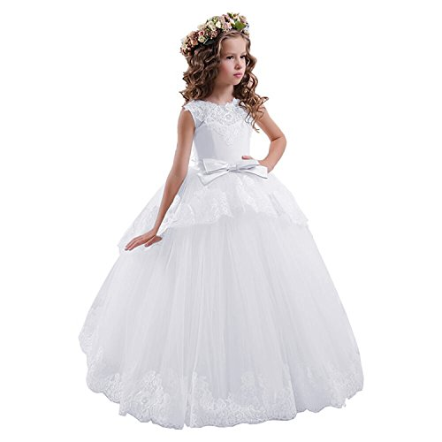 (Fancy Lace Floral Appliques Sleeveless Flower Girl Dresses (Size 6, All White))