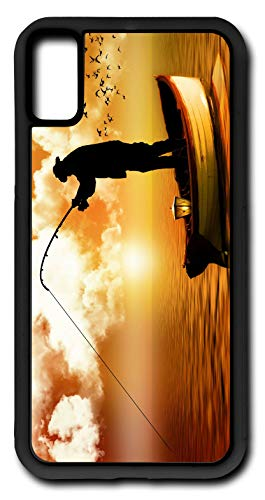 iPhone Xs Case Fishing On Golden Pond John The Fisher Man Customizable by TYD Designs in Black Rubber