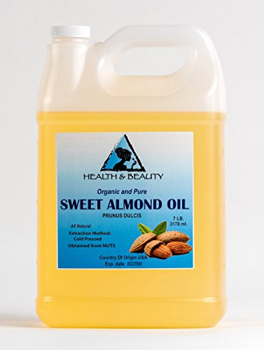 - Sweet Almond Oil Organic Carrier Cold Pressed Refined 100% Pure 128 oz, 7 LB, 1 gal