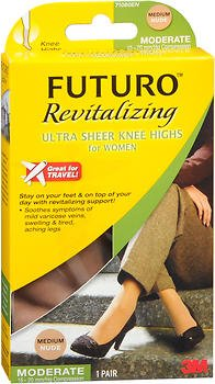 Futuro Revitalizing Ultra Sheer Knee Highs, Nude, Medium, Moderate (15-20 mm/Hg)