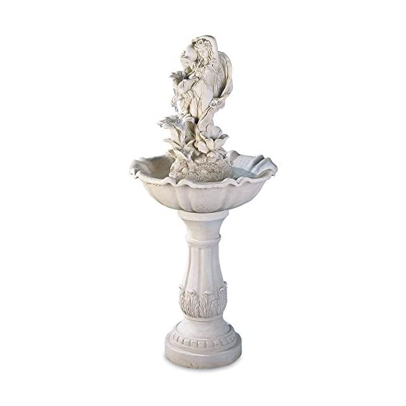 """FAIRY MAIDEN WATER FOUNTAIN - A fetching fairy maid pours water in sparkling tiers down a series of open blossoms. 19.5"""" x 19.7"""" x 42"""" Material(s): POLYRESIN, FIBERGLASS, POLYSTONE, OIL BASED PAINT - patio, outdoor-decor, fountains - 41uzoBlmU4L. SS570  -"""