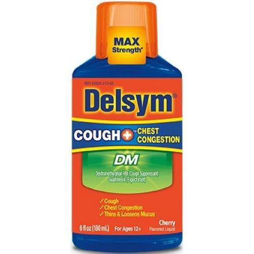 Delsym Adult Cherry Flavor DM Cough Plus Chest Congestion Liquid, 6 Fluid Ounce - 6 per case.