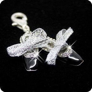 PURELY CHARMING Enameled Pet Charm / Pendant with Handset Swarovski Crystals - Ballet Slippers (Black)