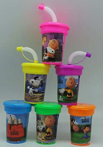 6 Peanuts Stickers Birthday Sipper Cups with lids Party Favor Cups]()