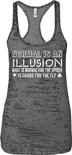Blittzen Ladies Tank Normal is an Illusion - Quote Saying, XL, Charcoal