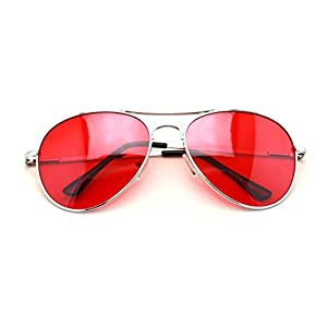 VW Eyewear - Colorful Silver Metal Aviator With Color Lens Sunglasses (Red lens)