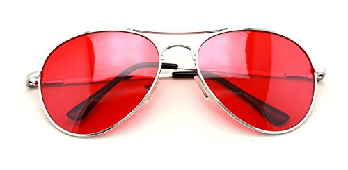Vision World Eyewear - Colorful Silver Metal Aviator With Color Lens Sunglasses (Red lens)