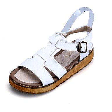 Women's Heel Slingback US8 Silver Shoes Comfort Casual CN39 Open Black Sandals Leather White EU39 UK6 Toe Flat Dress I1FFrxn