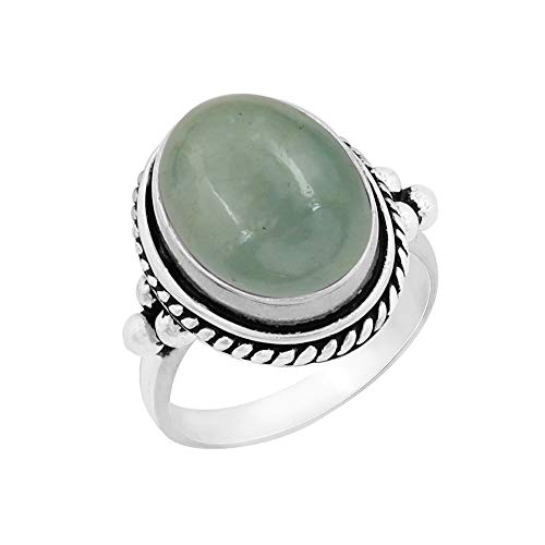 - Genuine Large Oval Shape Aquamarine Solitaire Ring 925 Silver Plated Vintage Style Handmade for Women Girls (Size-9)